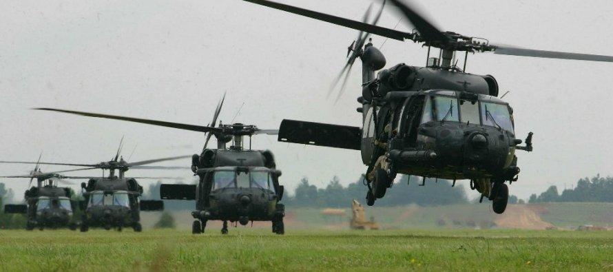 Вертолёты над Даугавпилской крепостью