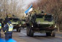 Скаутский батальон двигается на полигон Адажи