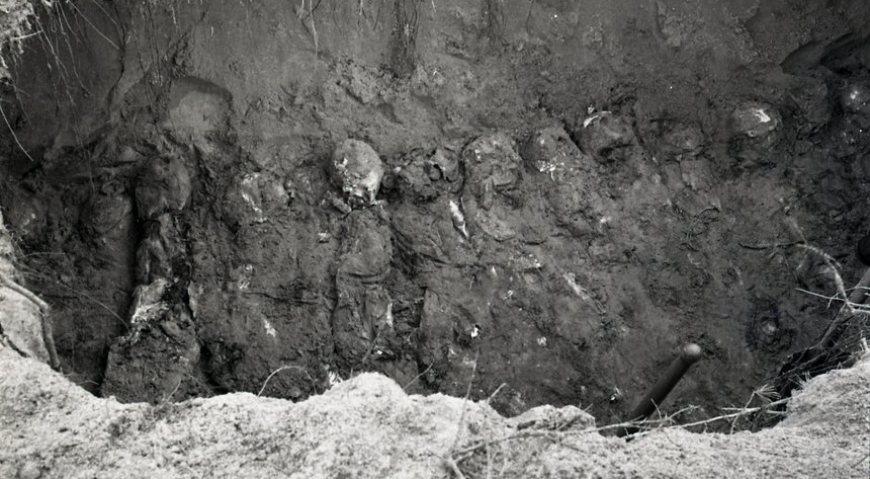 Вскрытая могила с трупами несовершеннолетних