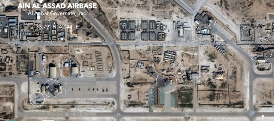 Разрушения на базе Аль-Асад после ракетной атаки Ирана